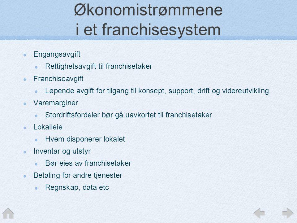Økonomistrømmene i et franchisesystem