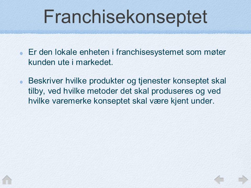 Franchisekonseptet Er den lokale enheten i franchisesystemet som møter kunden ute i markedet.