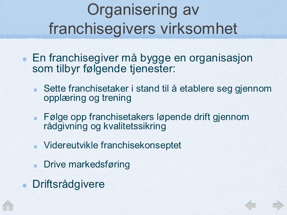 Organisering av franchisegivers virksomhet