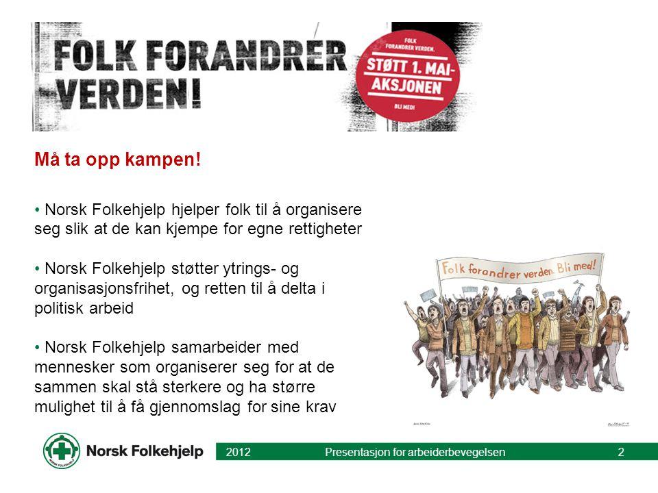 Må ta opp kampen! Norsk Folkehjelp hjelper folk til å organisere seg slik at de kan kjempe for egne rettigheter.