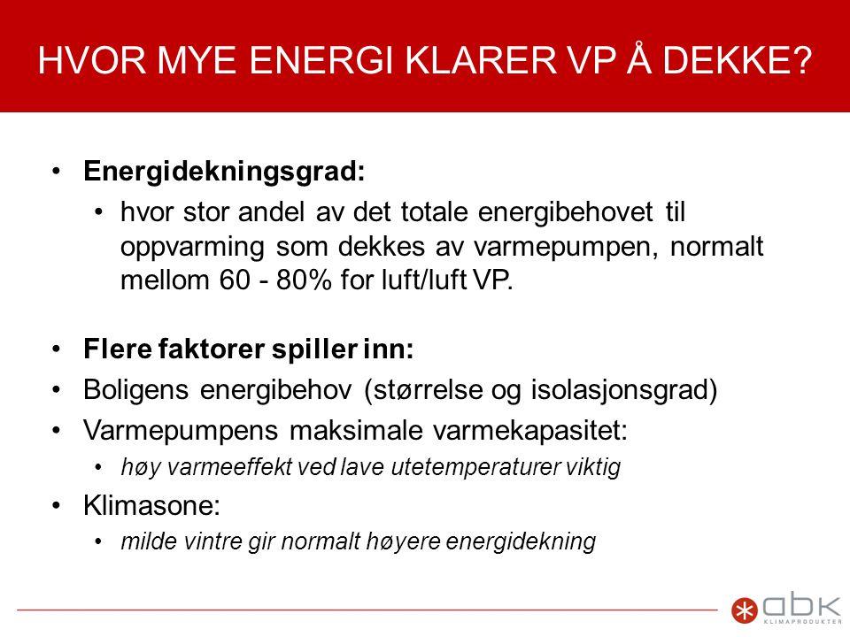 HVOR MYE ENERGI KLARER VP Å DEKKE