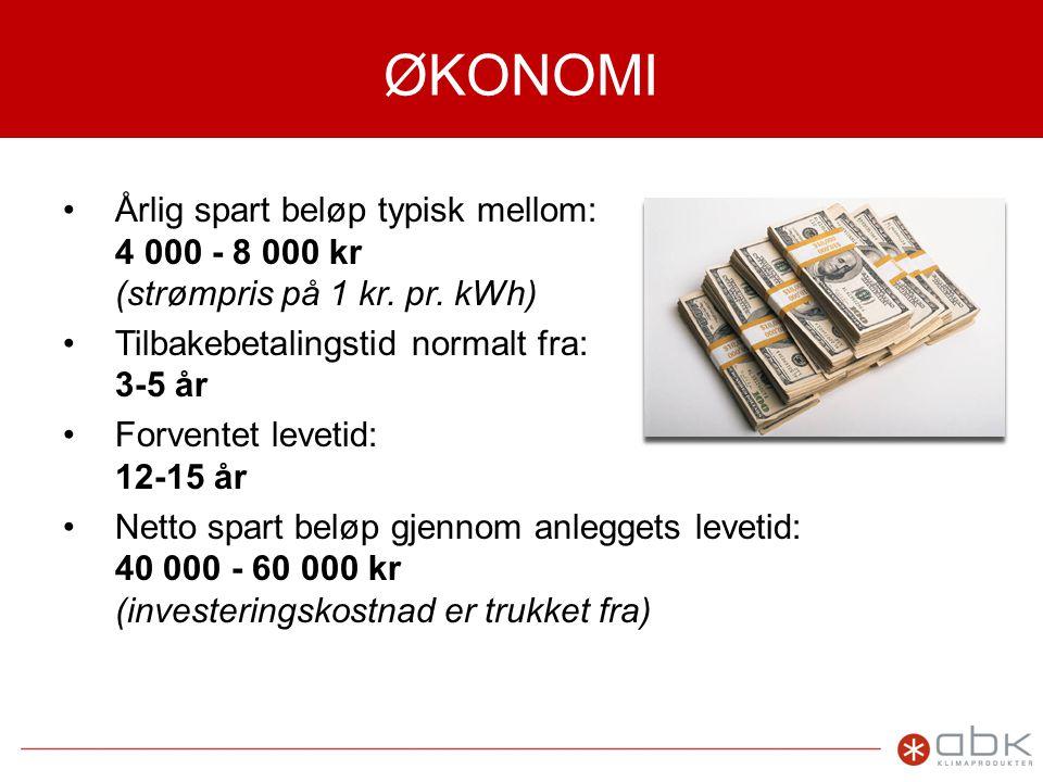 ØKONOMI Årlig spart beløp typisk mellom: 4 000 - 8 000 kr (strømpris på 1 kr. pr. kWh) Tilbakebetalingstid normalt fra: 3-5 år.