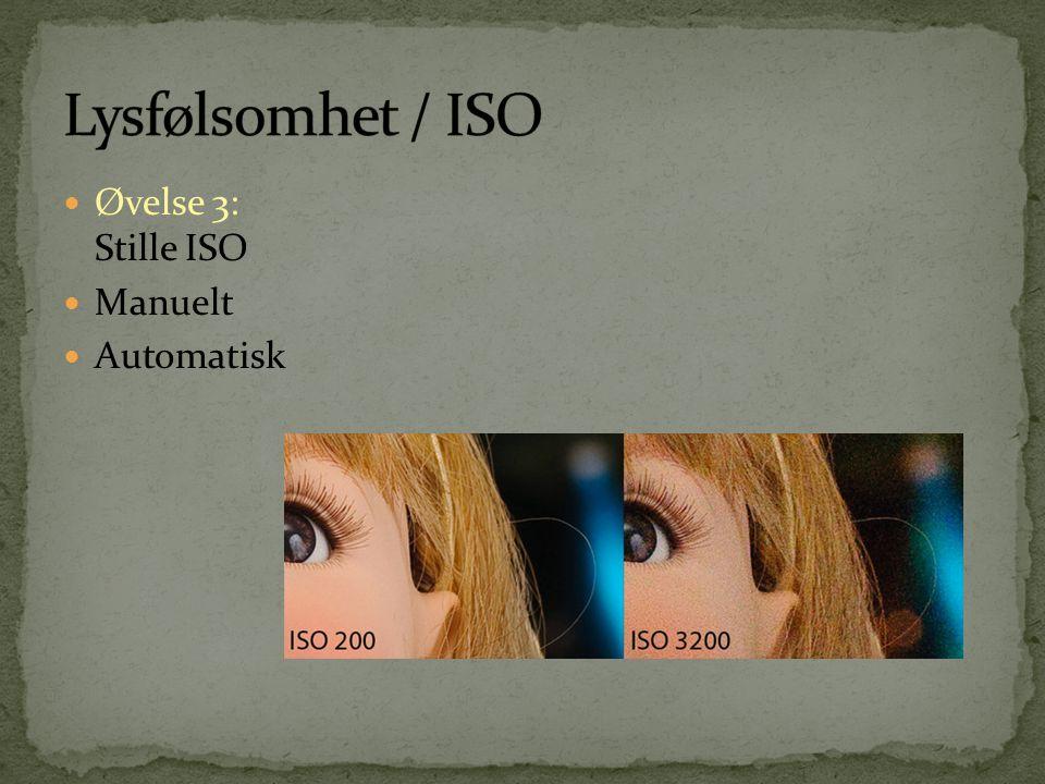 Lysfølsomhet / ISO Øvelse 3: Stille ISO Manuelt Automatisk