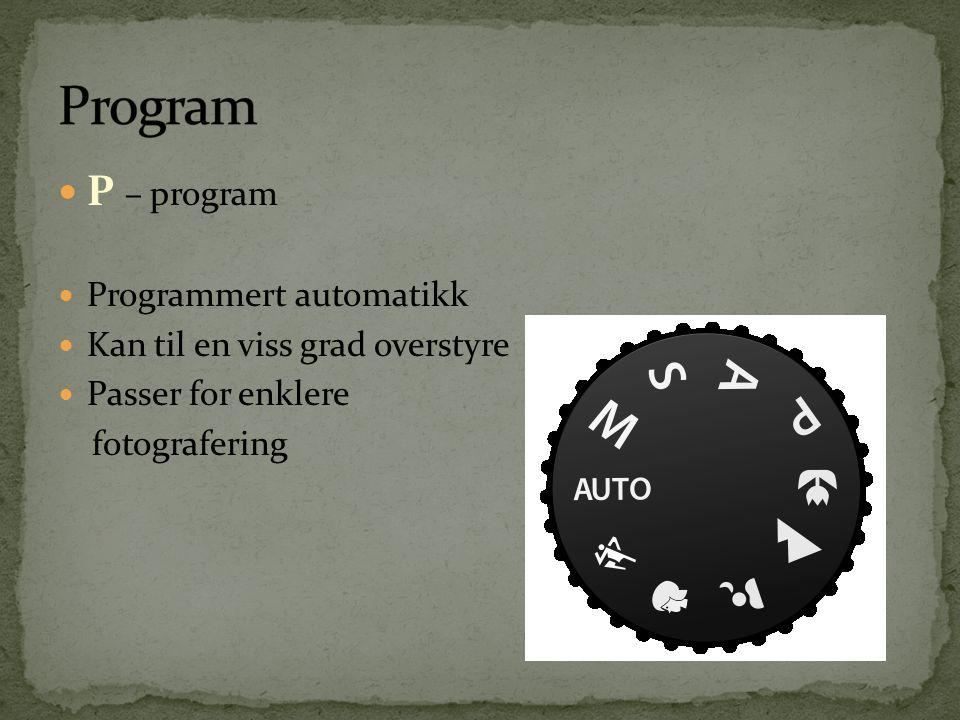 Program P – program Programmert automatikk