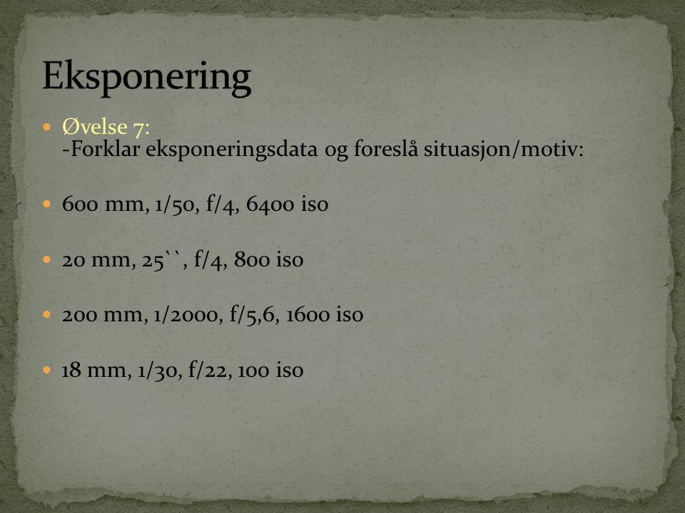 Eksponering Øvelse 7: -Forklar eksponeringsdata og foreslå situasjon/motiv: 600 mm, 1/50, f/4, 6400 iso.