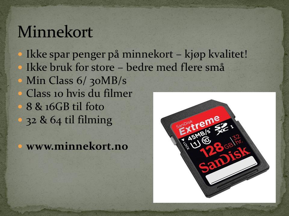 Minnekort Ikke spar penger på minnekort – kjøp kvalitet!