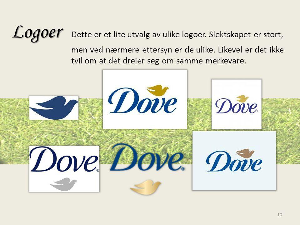 Logoer. Dette er et lite utvalg av ulike logoer. Slektskapet er stort,