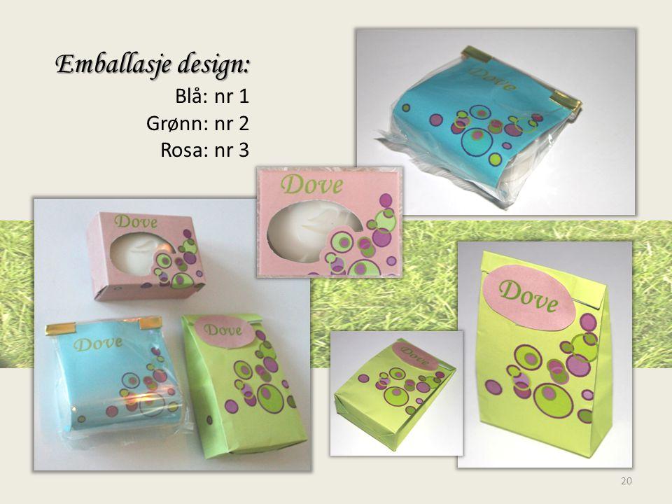 Emballasje design: Blå: nr 1 Grønn: nr 2 Rosa: nr 3