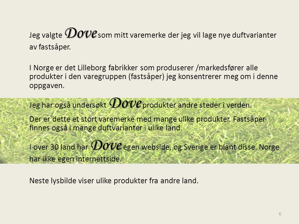 Jeg valgte Dove som mitt varemerke der jeg vil lage nye duftvarianter av fastsåper.