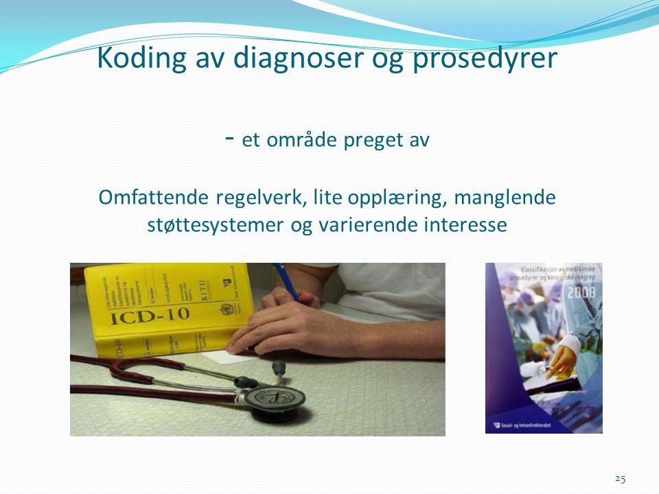 Koding av diagnoser og prosedyrer - et område preget av Omfattende regelverk, lite opplæring, manglende støttesystemer og varierende interesse