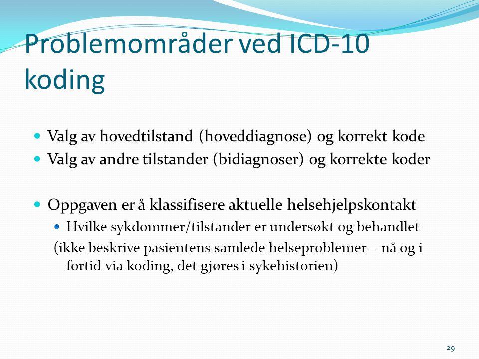 Problemområder ved ICD-10 koding