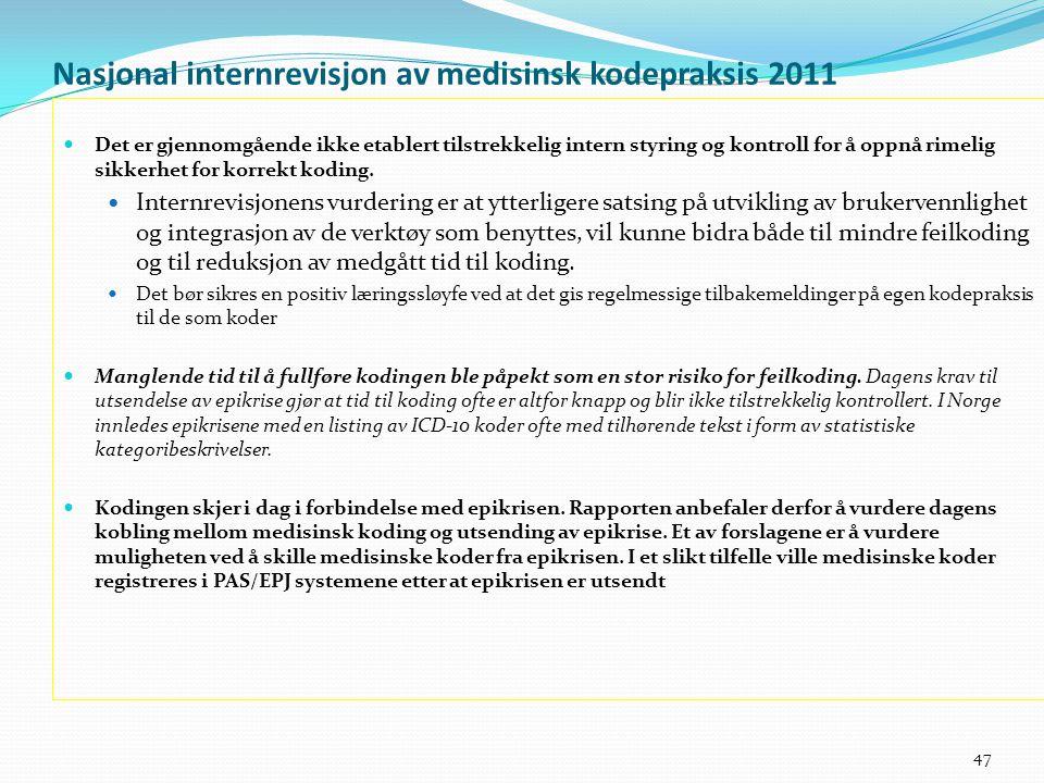 Nasjonal internrevisjon av medisinsk kodepraksis 2011