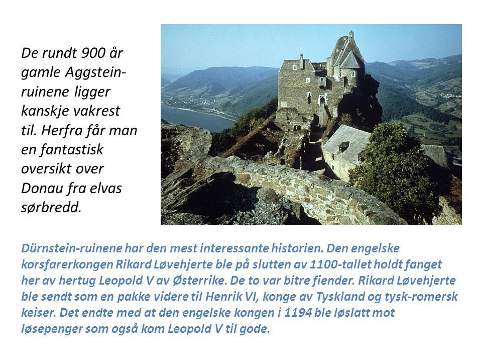 De rundt 900 år gamle Aggstein-ruinene ligger kanskje vakrest til