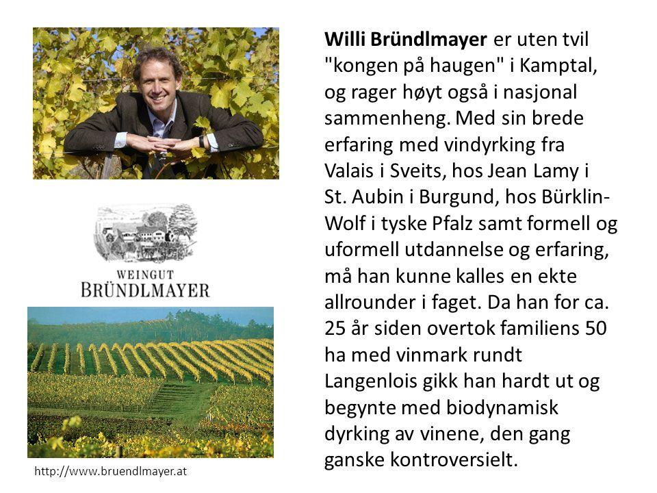 Willi Bründlmayer er uten tvil kongen på haugen i Kamptal, og rager høyt også i nasjonal sammenheng. Med sin brede erfaring med vindyrking fra Valais i Sveits, hos Jean Lamy i