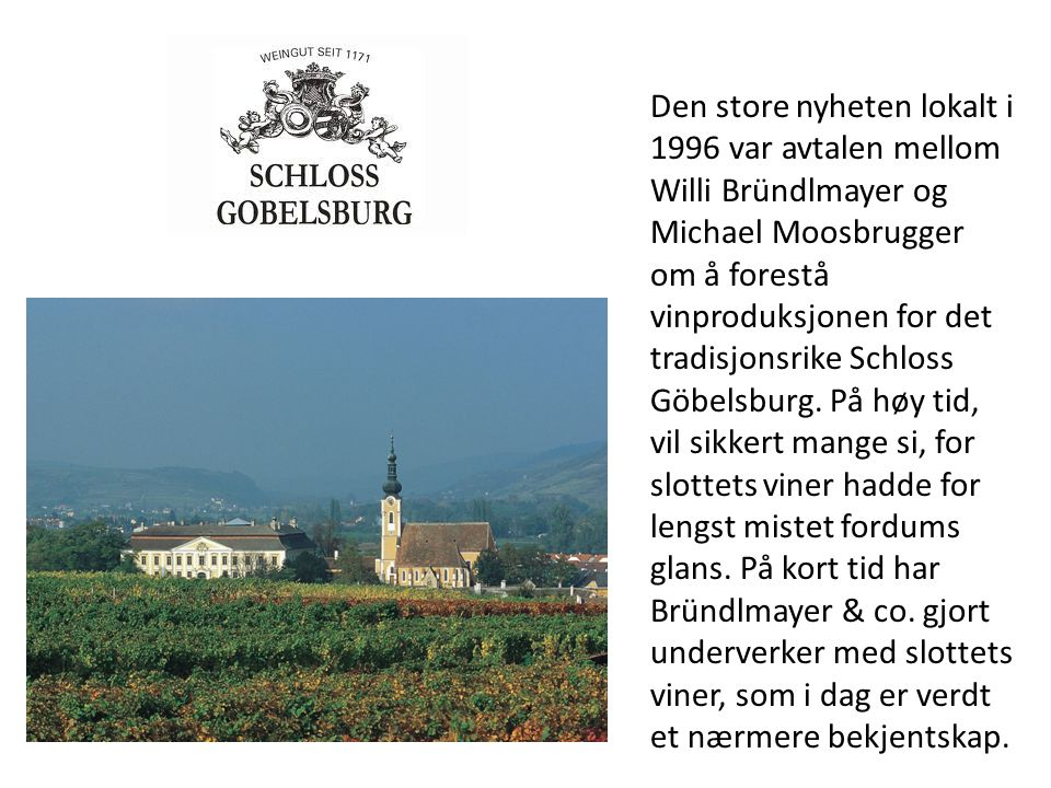 Den store nyheten lokalt i 1996 var avtalen mellom Willi Bründlmayer og Michael Moosbrugger om å forestå vinproduksjonen for det tradisjonsrike Schloss Göbelsburg.
