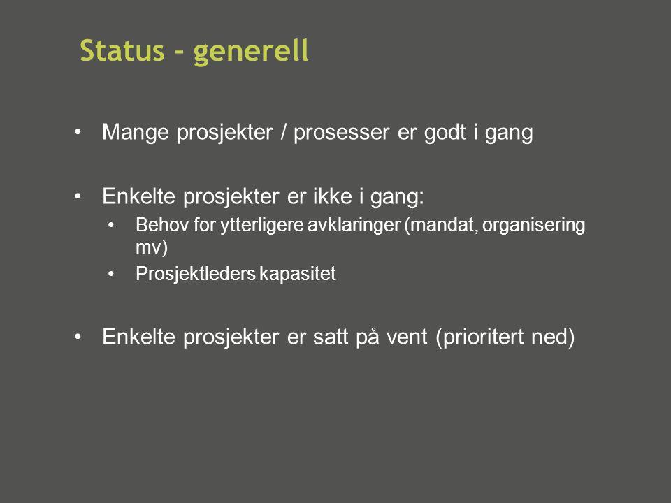 Status – generell Mange prosjekter / prosesser er godt i gang