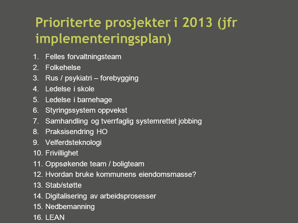 Prioriterte prosjekter i 2013 (jfr implementeringsplan)