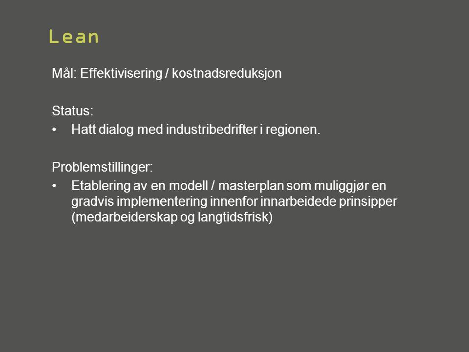 Lean Mål: Effektivisering / kostnadsreduksjon Status: