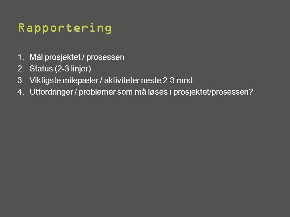 Rapportering Mål prosjektet / prosessen Status (2-3 linjer)