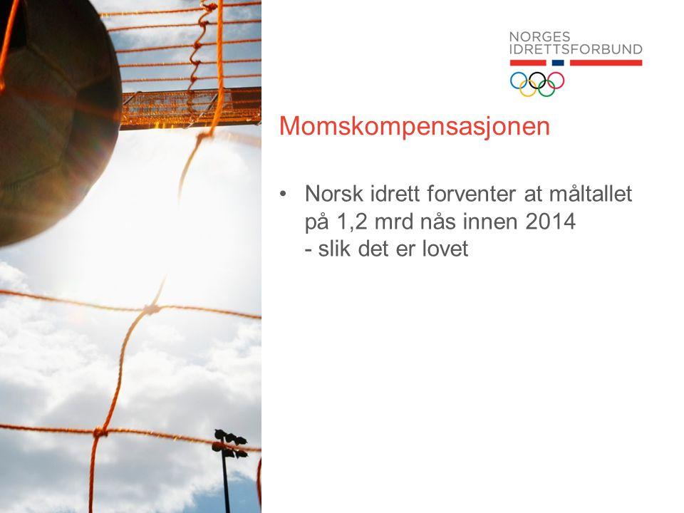 Momskompensasjonen Norsk idrett forventer at måltallet på 1,2 mrd nås innen 2014 - slik det er lovet.