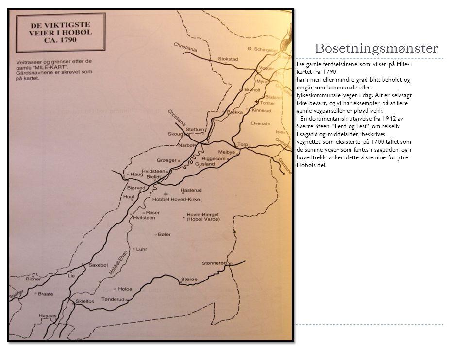 Bosetningsmønster De gamle ferdselsårene som vi ser på Mile-kartet fra 1790.