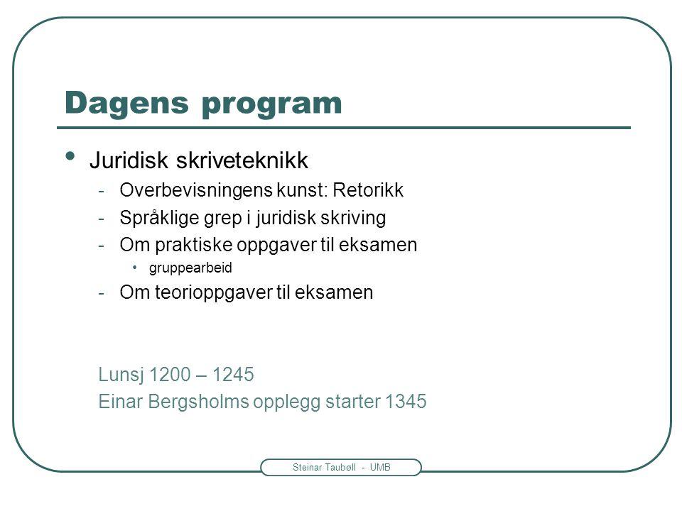 Dagens program Juridisk skriveteknikk Overbevisningens kunst: Retorikk