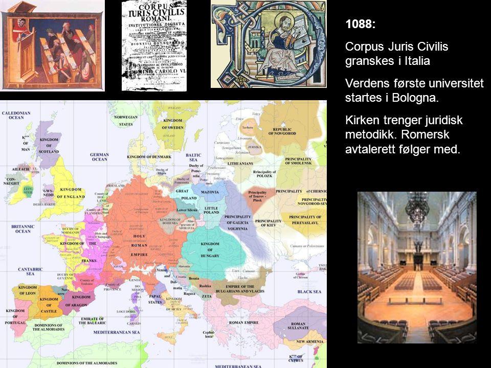 1088: Corpus Juris Civilis granskes i Italia. Verdens første universitet startes i Bologna.