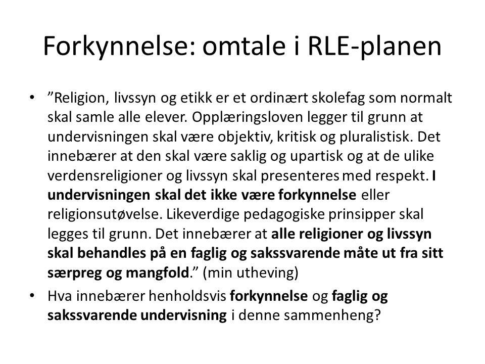 Forkynnelse: omtale i RLE-planen