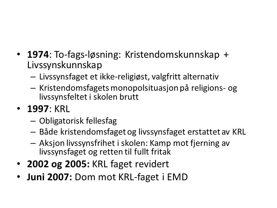 1974: To-fags-løsning: Kristendomskunnskap + Livssynskunnskap