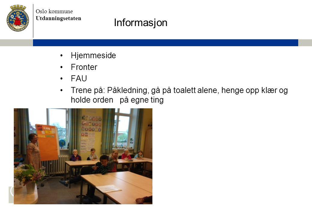 Informasjon Hjemmeside Fronter FAU