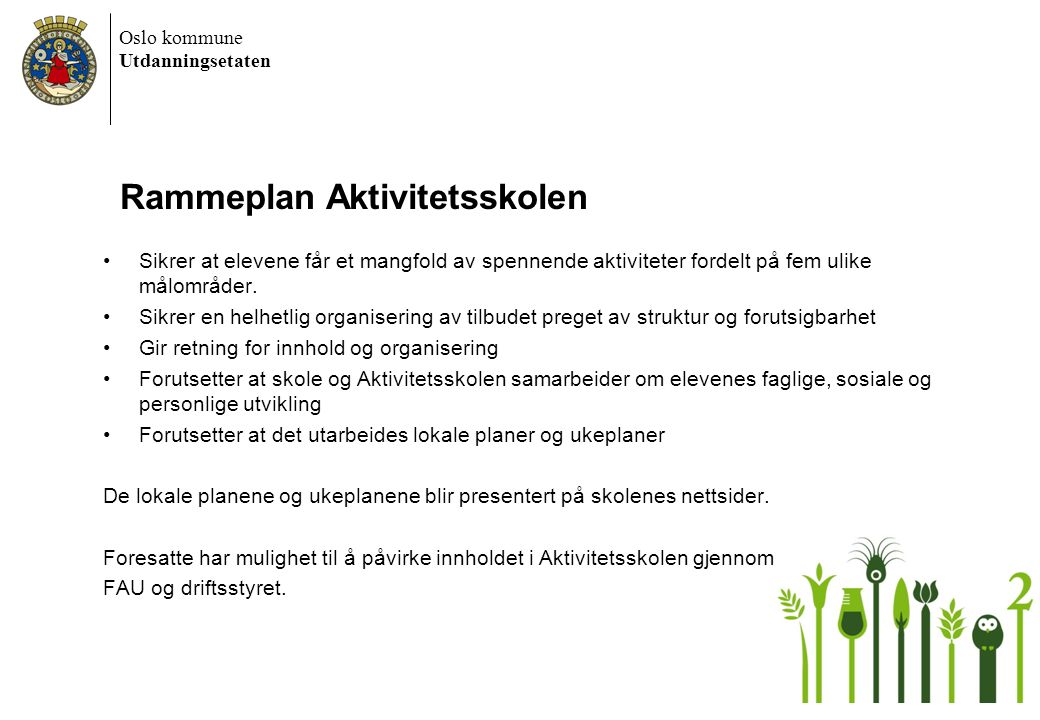 Rammeplan Aktivitetsskolen