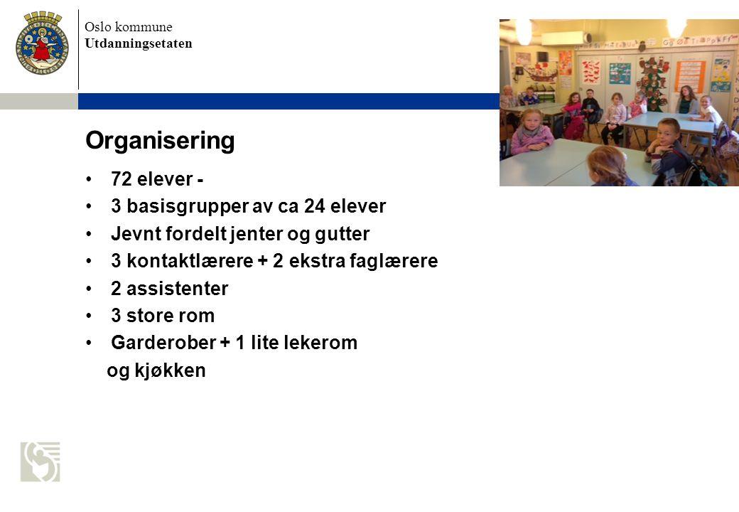Organisering 72 elever - 3 basisgrupper av ca 24 elever