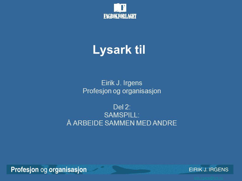 Lysark til Eirik J. Irgens Profesjon og organisasjon Del 2: SAMSPILL: