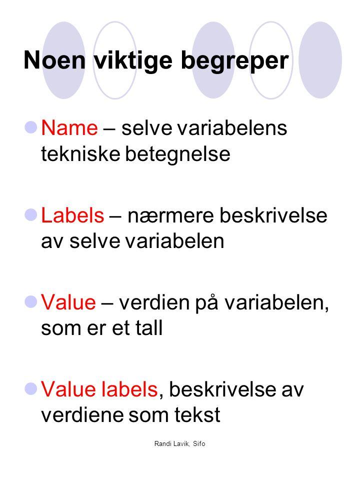 Noen viktige begreper Name – selve variabelens tekniske betegnelse