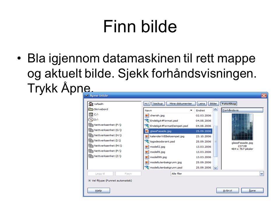 Finn bilde Bla igjennom datamaskinen til rett mappe og aktuelt bilde.