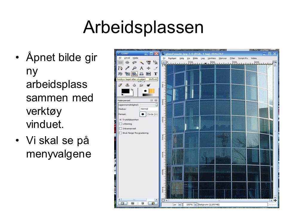 Arbeidsplassen Åpnet bilde gir ny arbeidsplass sammen med verktøy vinduet.