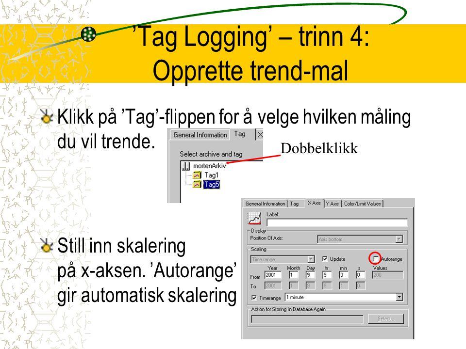 'Tag Logging' – trinn 4: Opprette trend-mal