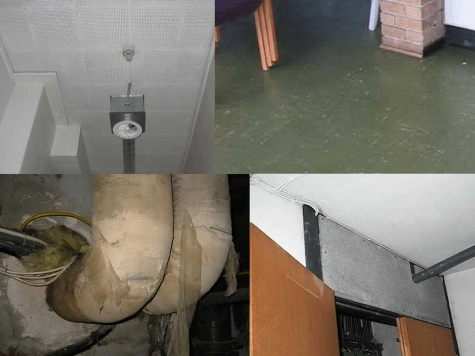 Fire eksempler på bruk av asbest: Perforerte takplater, gulvfliser/limet, rørisolasjon i rørbend og asbestplate over sikringskap.