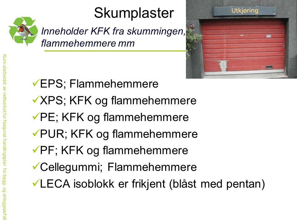 Skumplaster EPS; Flammehemmere XPS; KFK og flammehemmere