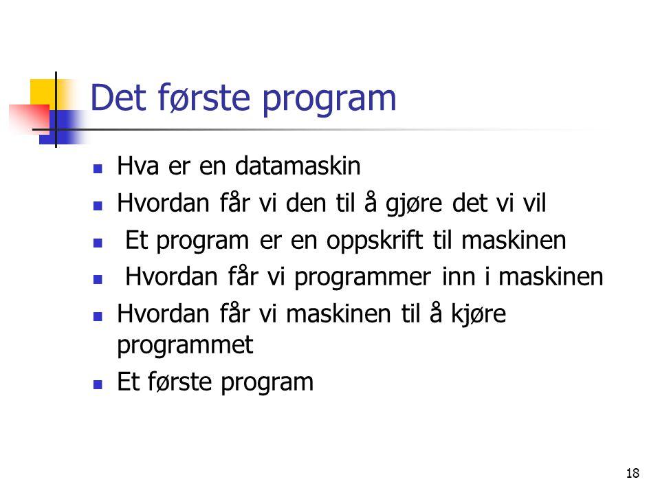 Det første program Hva er en datamaskin