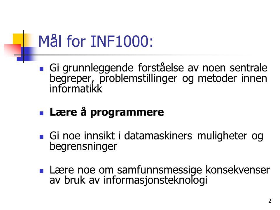 Mål for INF1000: Gi grunnleggende forståelse av noen sentrale begreper, problemstillinger og metoder innen informatikk.