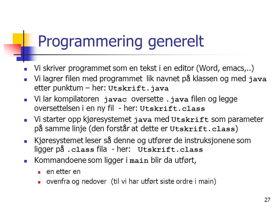 Programmering generelt