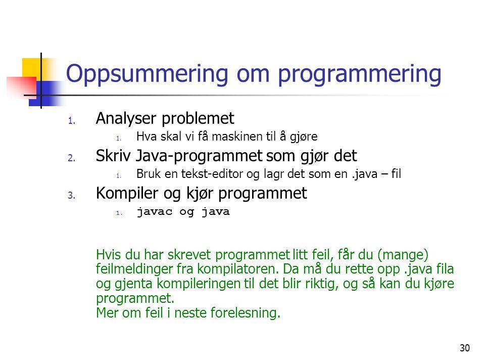 Oppsummering om programmering