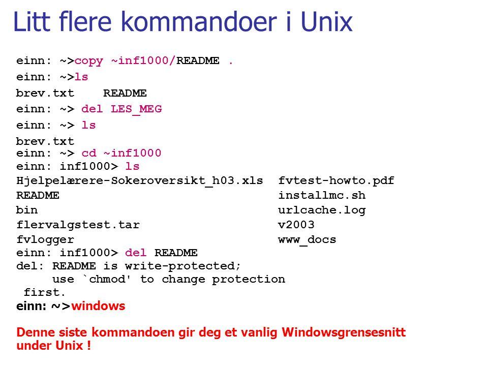 Litt flere kommandoer i Unix