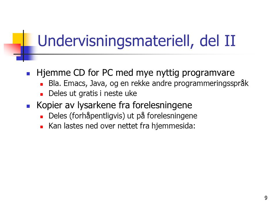 Undervisningsmateriell, del II
