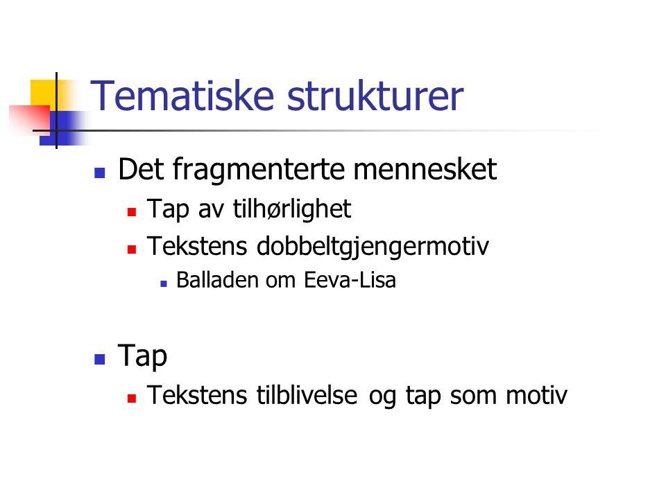 Tematiske strukturer Det fragmenterte mennesket Tap