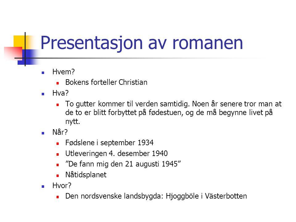 Presentasjon av romanen