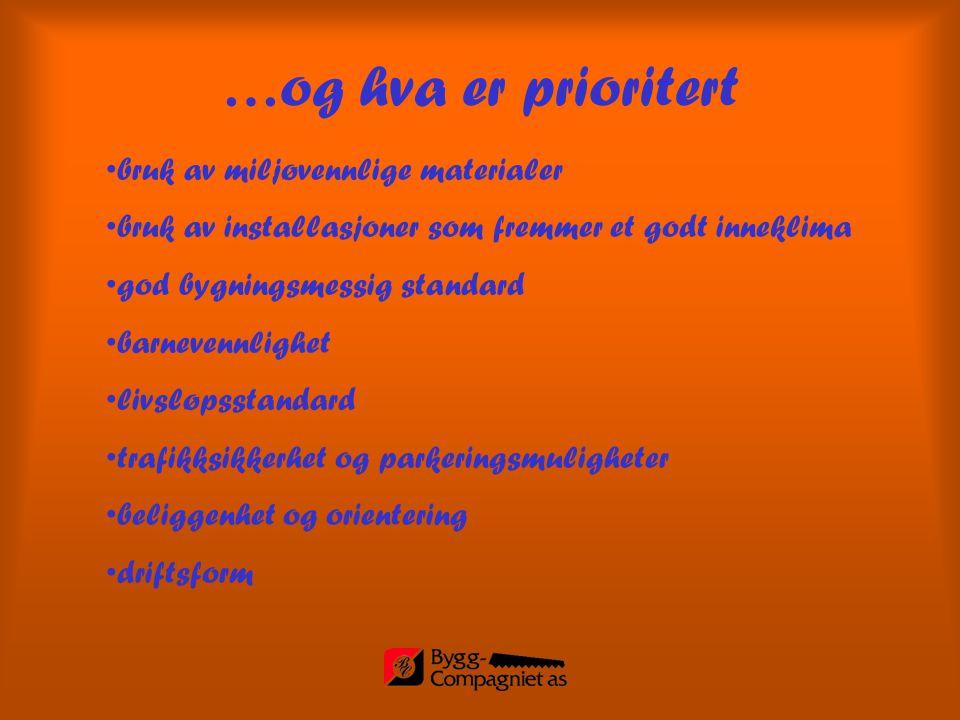 …og hva er prioritert bruk av miljøvennlige materialer