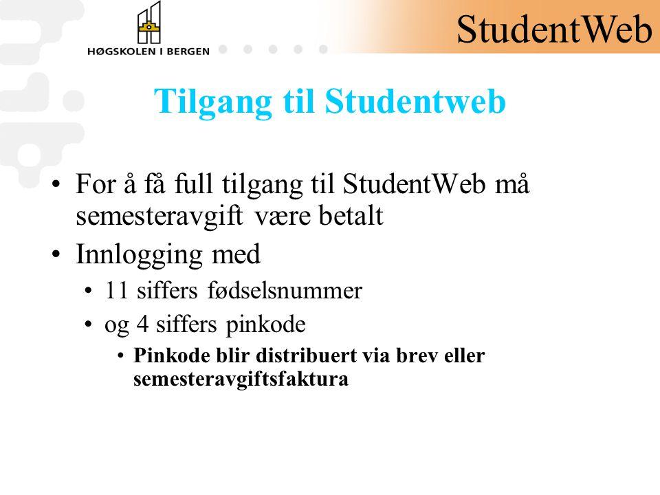 Tilgang til Studentweb