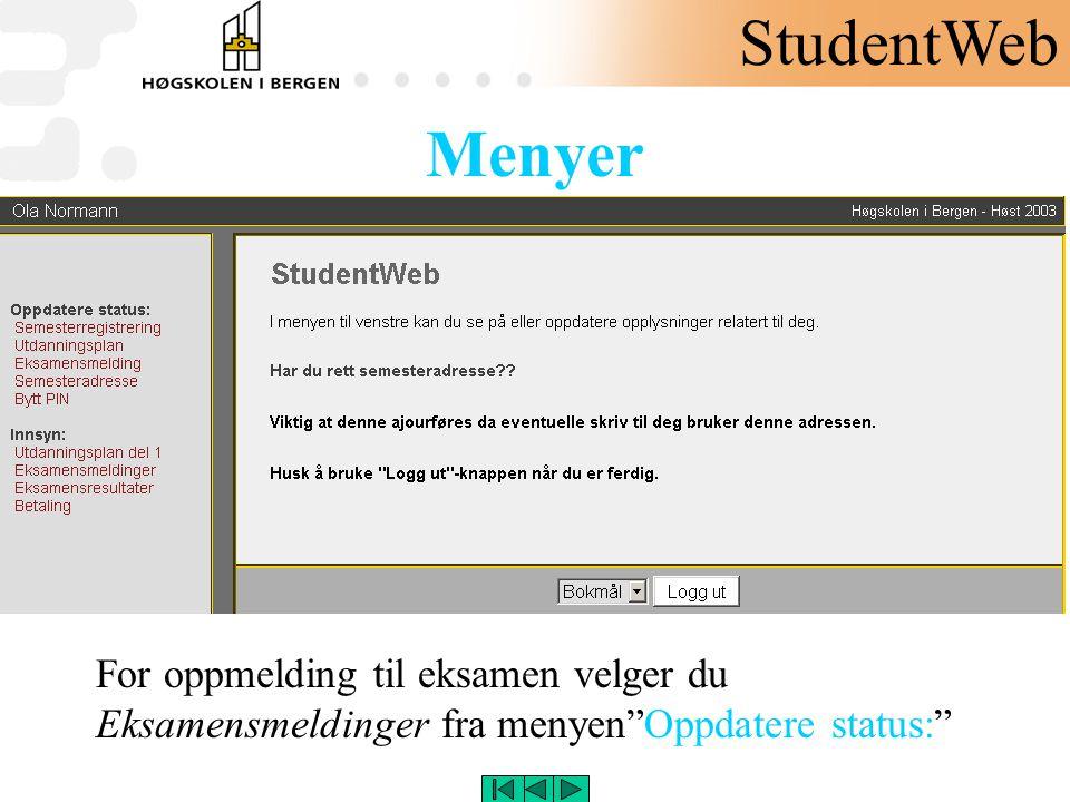 StudentWeb Menyer.